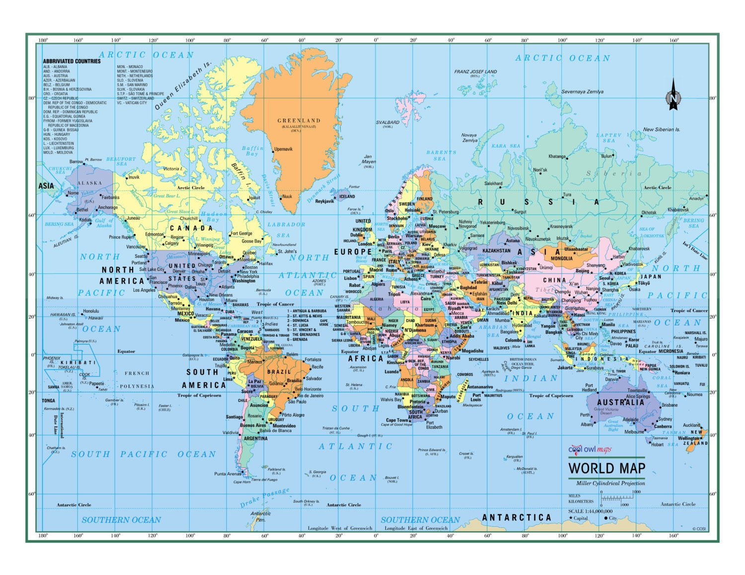 WORLD Wall Map Political Poster 22x17 or