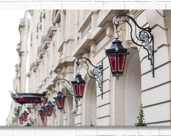 Paris Photograph on Canvas - Red Lanterns (horizontal) on  Paris Architecture, Gallery Wrapped Canvas, French Home Decor, Large Wall Art