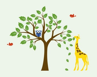 childrens removable vinyl wall decal  Tree with Giraffe owl and birds Cute for any nursery