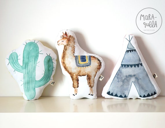 SET Cojines Llama, Cactus y tipi azul / CUSHIONS for baby and newborns