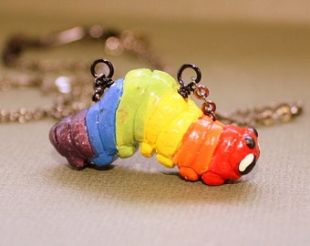 Rainbow Caterpillar Necklace