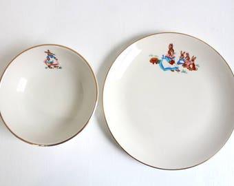 Rare Homer Laughlin Rabbit Bunny Pattern Child's Dinner Plate & Bowl Set, Vintage, Porcelain, Infant Dish, Homer Laughlin Collectible