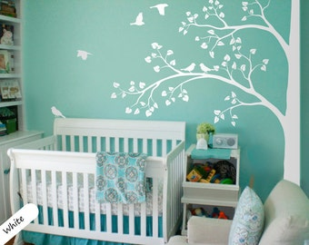 Large White Tree Wall Decal Corner Tree Sticker with Leaves and Birds Nursery Decor Large Tree Mural  White Whimsical Tree Wall Art 011