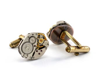 Engraved Watch Cuff Links, Personalised Steampunk Cufflinks, Custom Watch Movement Cuff Links, Customised with Your Text, Secret Message