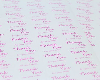 Thank you for your order labels / stickers. 65 per sheets. Pink Print. An easy way to thank your customers!