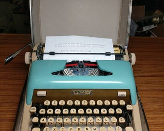 1961 Turquoise and Gold Royal Aristocrat portable manual typewriter with case - beautiful!