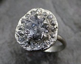 Raw Diamond Halo Engagement Ring Rough 14k White Gold Wedding Ring diamond Wedding Set Stacking Ring Rough Diamond Ring byAngeline 0086
