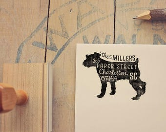 Schnauzer Return Address Stamp, Housewarming & Dog Lover Gift, Personalized Rubber Stamp, Wood Handle