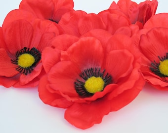 Fake poppies poppy etsy 24 big red poppies silk artificial flowers silk poppy 45 flower floral hair accessories diy wedding anemones supplies fake anemone mightylinksfo