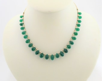 Natural Green Onyx Briolette Gemstone Silver beads Necklace.