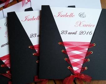 Corset black red pocket wedding invitation