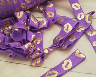 Purple Elastic Bands - Gold Lips - Younique Lips Kiss Hair Tie gift party favor lipsense senegence