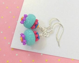 Girls Colorful Earrings   --  Calliope  --  Blue Raspberry