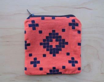 Orange and Blue Zipper Pouch// Cute Coin Purse