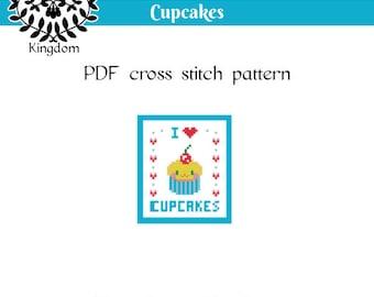 I love Cupcakes - Cross Stitch pattern- PDF
