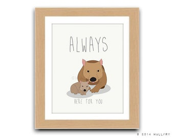 Wombat and baby print for baby nursery decor. Aussie animals. Bush nursery. Australian animal nursery art. wombat always print by WallFry