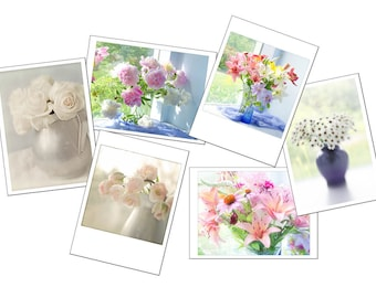 Greeting Card Set, Gift for Gardener, Six Flower Photo Cards, Lily, Peony, Tulip, Rose, Daisy Blank Cards