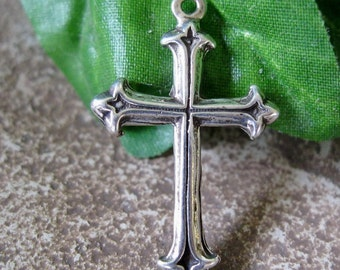 Pretty Cross Pendant Sterling Silver Charm 28 to  29MM x 18MM 1 Piece Sale
