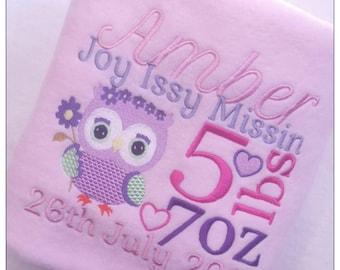 Personalised Baby Blanket, Owl, Full birth Details, New Baby Gift, Birthday,Christening, Fleece Blanket, Birth Announcement, Owl Blanket