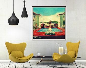 Retro Home Decor, mid Century Motel print, Vintage Summer art  Swimming Pool  Retro Motel Pool,, Beach House art, Mid Century Wall art
