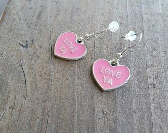 Pink Heart Love Ya Charm Earrings, Valentine Conversation Heart Jewelry - Gift Ideas - Teacher Gifts