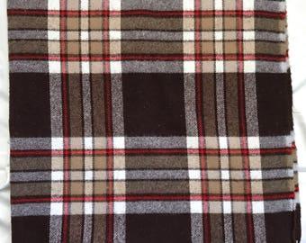 Vintage Faribo Blanket // Stadium / Camp Blanket // Brown Plaid // Acrylic Throw // Fringe