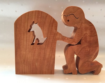 Memorial for a furry friend - wood figurine - sculpture