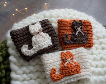 Cat Coffee Mug Sleeve, Kitty Coffee Cup Sleeves, Cat Travel Mug Cozy, Fall Coffee Cozy, Tea Mug Cozy, Crochet Mug Cozy, Travel Mug Sleeve
