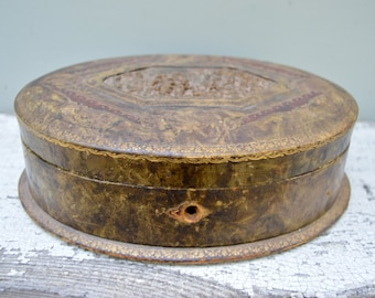 Antique Leather Box . Carved Wood . Jewelry Box . Oval Box . French