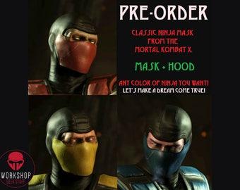 Scorpion, Sub-Zero, Ermak, Reptile, Smoke, Noob Saibot, Rain - MASK + HOOD (Mortal Kombat X - Classic ninja mask)