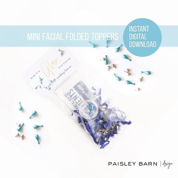 INSTANT DOWNLOAD  Give it a Glow Mini Facial Toppers | skincare, lip serum, gold, heart, lips, business card, R+F, marketing