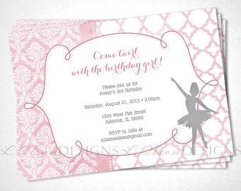 Pink Ballerina Dancer Birthday or Special Event Invite - DIY Printable