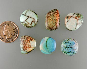 Sterling Faux Opal Cabochons, Faux Opal Cabs, Sterling Faux Opal Sweet Suite, Lab Grown Opals, Gift Cabs, C2172, Handcrafted by 49erMinerals