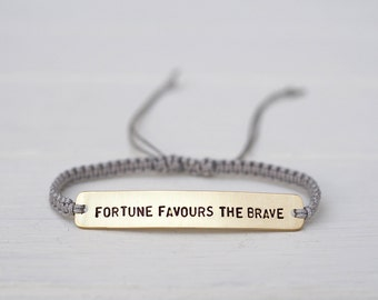 Fortune Favours The Brave Sterling Silver or Brass and Macramé Bracelet, Choice Of Colours Available. Friendship Bracelet