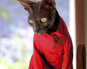 Cat Trek Shirt, Cat Costume, Costumes for Pets, Sphynx cat clothes, Shirts for Cats, Starship Crew Members, LARP for Naked Cats