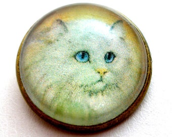 "Long haired  white CAT  button, Domed studio glass button. 3/4"", 22mm. handmade. Vintage style. Persian."