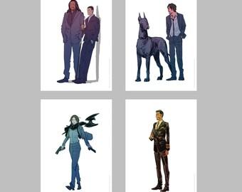 R1 SUITS A5 prints set of 4