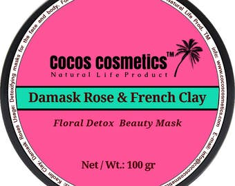 French pink clay  and Damask Rose / Whitening face mask / Facial Mask / Antiaging mask / Mineral mask