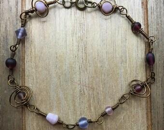 """Purple beaded bracelet, wire wrapped bracelet, 9.5"""" adjustable"""