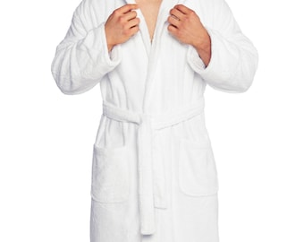 Personalized Men's Hooded Terry Bathrobe, 100% cotton | Made in Turkey