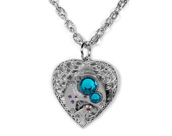 Steampunk Jewelry Necklace Vintage Watch Silver Filigree HEART Turquoise Crystals Anniversary, Girlfriend Holiday Gift - Steampunk Boutique