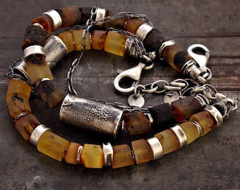 raw amber bracelets with raw sterling silver oxidized chain • inspirational gift for her for him • Birthday Gift modern rustic bracelet