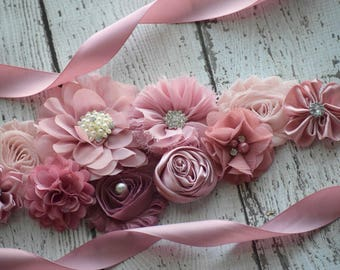 Classic mauve Sash, # 2, flower Belt, maternity sash, wedding sash, flower girl sash, maternity sash belt