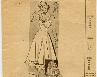 1940s Anne Adams Slip & Petticoat Pattern / Lingerie / Vintage Sewing Pattern / Anne Adams Original 4626 / Bust 32