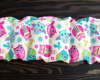 Rice bag / multi color owl print  / rice heating pad / pain relief/ kids / heat therapy pack / relaxation / microwavable / Easter gift