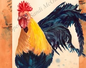 "Watercolor Print ""Rooster"" by Sandi McGuire"