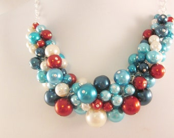 Pearl Cluster Necklace Set in a Modern Red, White and Blue - Chunky, Choker, Bib, Necklace, Wedding, Bridal, Bridesmaid, SRAJD, Party Pearls