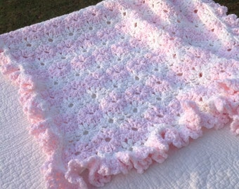 Pink and White Daisy Chain Baby Blanket/Pink and White Flower Baby Blanket