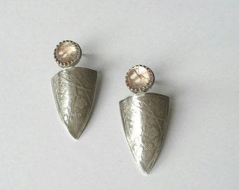 Sterling silver handmade embossed earrings with golden rutilated quartz earrings, hallmarked in Edinburgh.