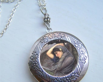 Art Nouveau Locket, Waterhouse, Photo Locket, Antique Silver